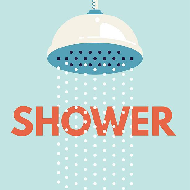shower head in bathroom with water drops flowing - 淋浴 幅插畫檔、美工圖案、卡通及圖標
