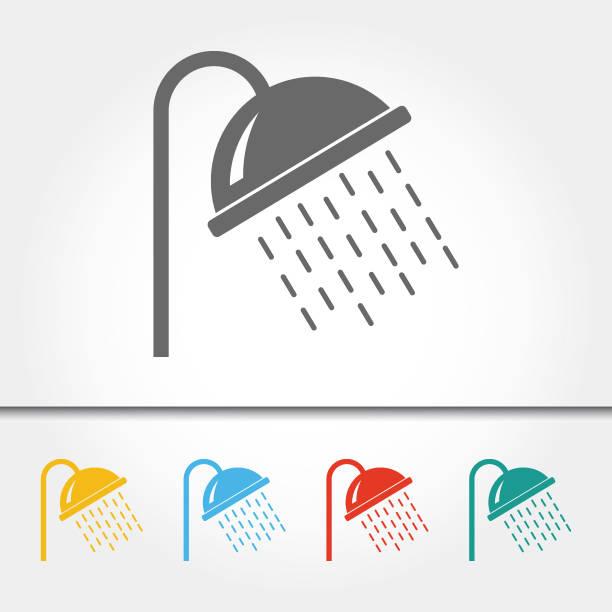 ilustrações, clipart, desenhos animados e ícones de cabeça de chuveiro simples icon ilustração vetorial - chuveiro
