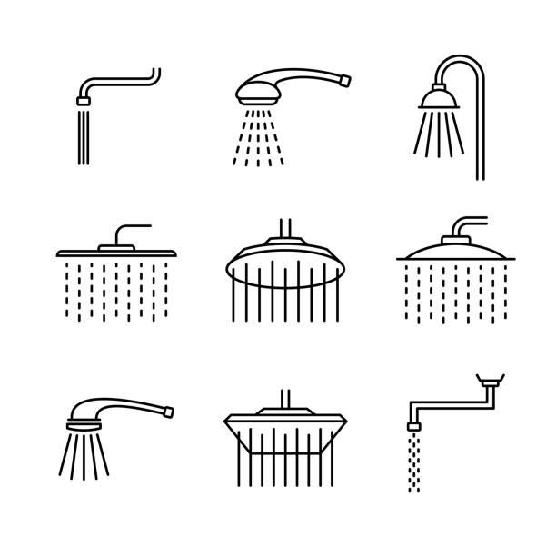 ilustrações, clipart, desenhos animados e ícones de ícones do tipo da cabeça de chuveiro ajustados. símbolos diferentes do chuveiro do estilo do esboço. formas de douche. largura da linha ajustável. - chuveiro