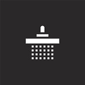 shower icon. Filled shower icon for website design and mobile, app development. shower icon from filled bed and breakfast collection isolated on black background.