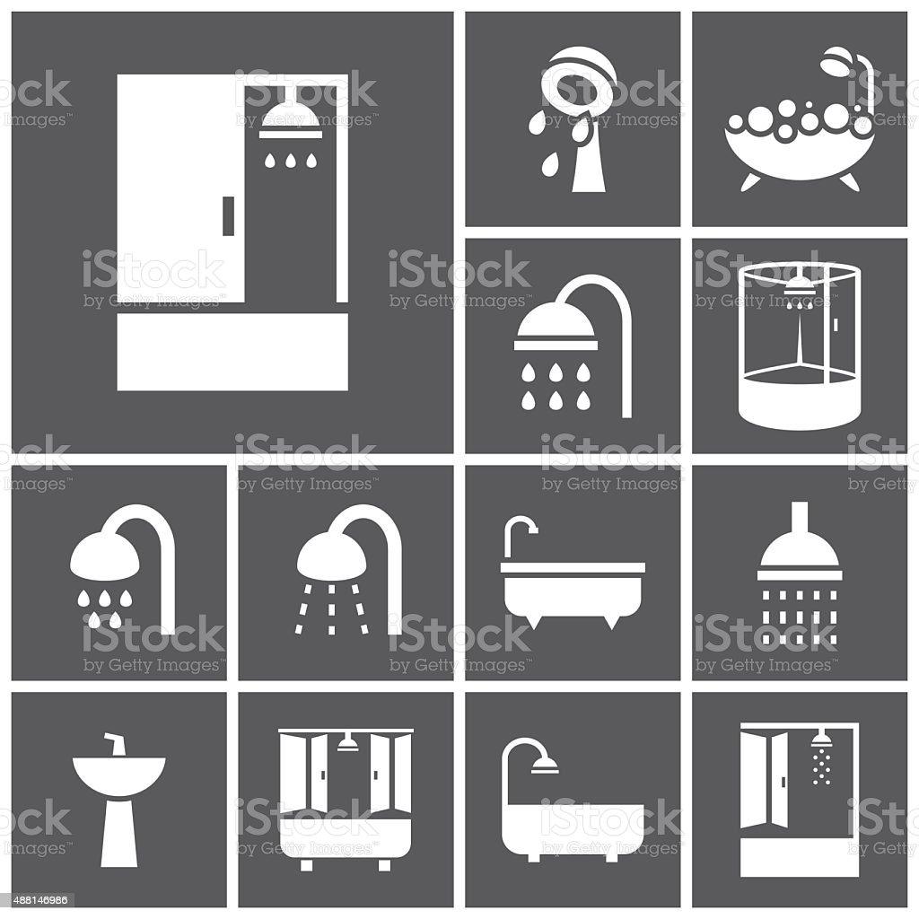 Shower icons vector art illustration