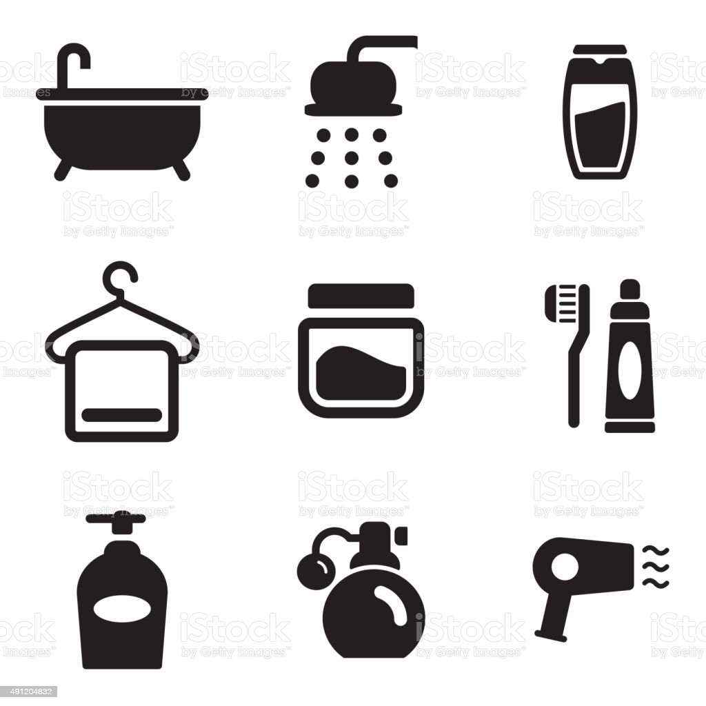 Shower Icons vector art illustration