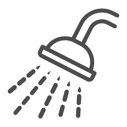 Shower line icon, Gym concept, Douche with water drops sign on white background, shower spray icon in outline style for mobile concept and web design. Vector graphics.