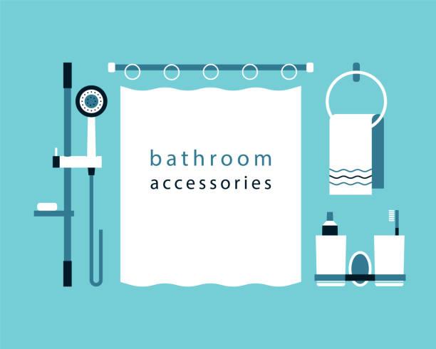 dusche, rack, bad vorhang, handtuchhalter, becher für zahnpasta und zahnbürste. bad-accessoires. flaches design. vektor-icons. - duscharmaturen stock-grafiken, -clipart, -cartoons und -symbole