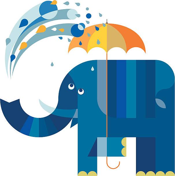 ilustraciones, imágenes clip art, dibujos animados e iconos de stock de ducharse blue elephant - tintanegra00