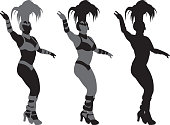 Vector silhouettes of a woman dancing in a showgirl costume.