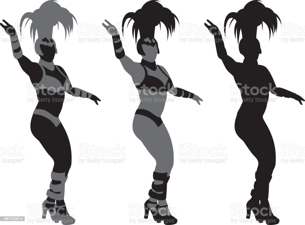 Showgirl Silhouettes vector art illustration