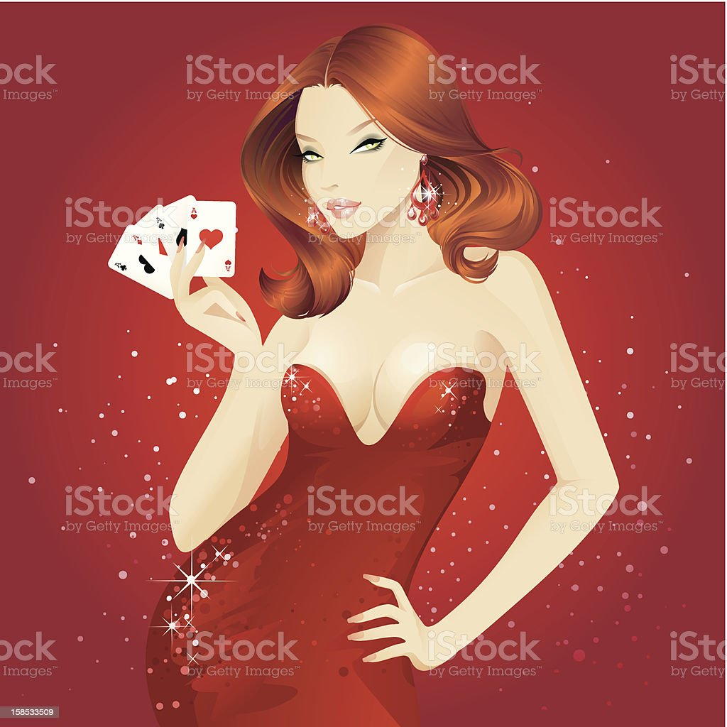 Showgirls (Redhead) vector art illustration