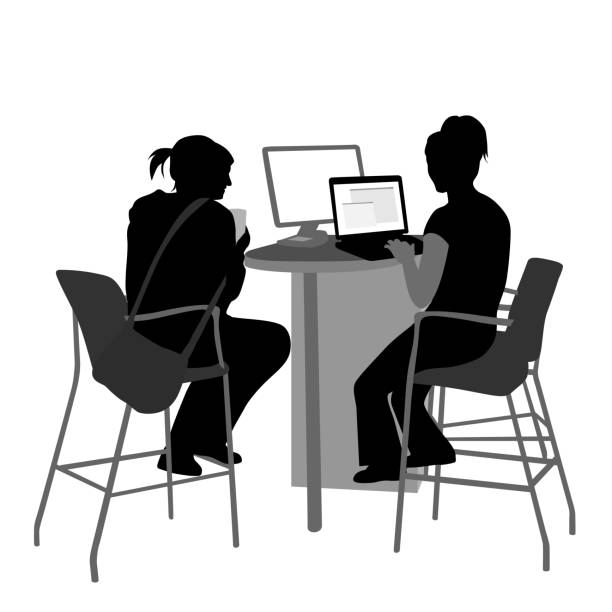 Zeigt eine Freund Computersuche – Vektorgrafik