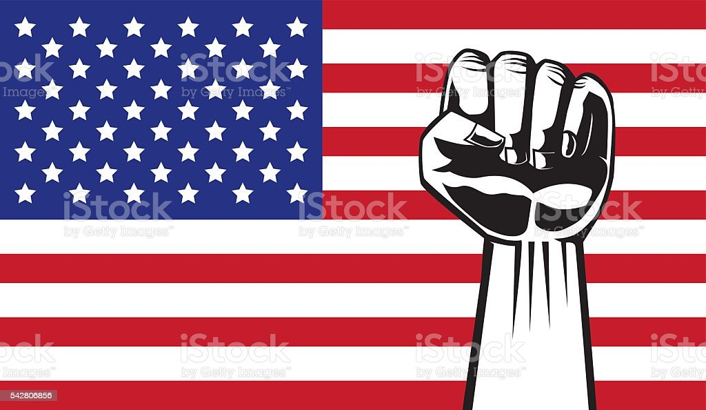 Showing fist on American flag background. vector art illustration