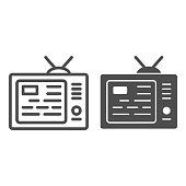 TV showing news on screen line and solid icon, media concept, information on tv screen sign on white background, News on television icon in outline style for mobile concept and web. Vector graphics