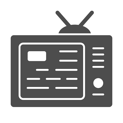 TV showing news on screen solid icon, media concept, information on tv screen sign on white background, News on television icon in glyph style for mobile concept and web. Vector graphics.