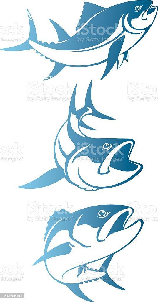 Shown tuna logo vector art illustration