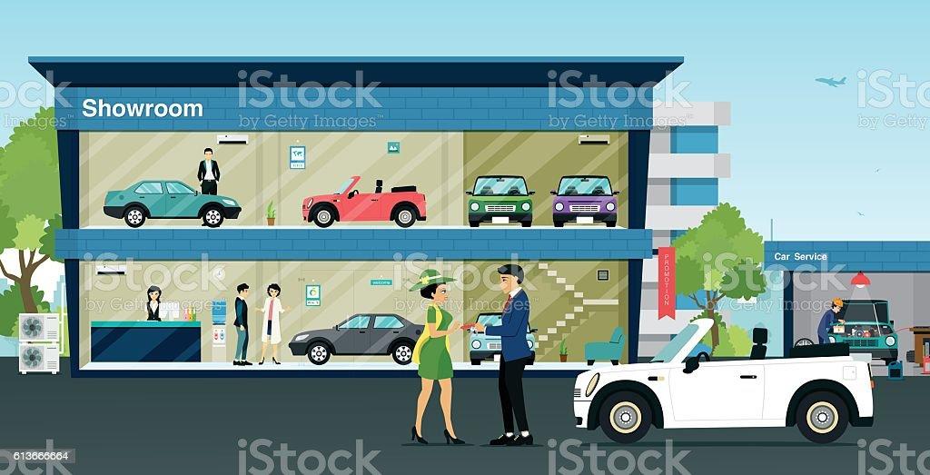 showroom car – Vektorgrafik