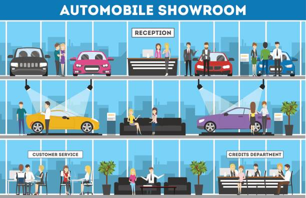 Showroom interior set. Showroom interior set. Automobiles for sell. Reception, customer service and credits department. car salesperson stock illustrations