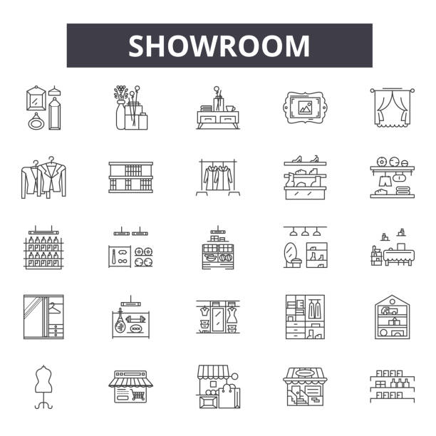 Showroom line icons, signs, vector set, linear concept, outline illustration Showroom line icons, signs, vector set, outline concept linear illustration showroom stock illustrations