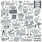 TV Shows, Series and Movies Funny Doodle Vector set. Hand drawn illustration pattern.