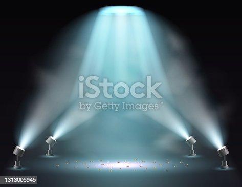 istock Showtime background illuminated by spotlights 1313005945