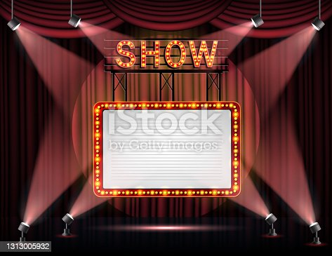 istock Showtime banner with curtain illuminated by spotlights 1313005932