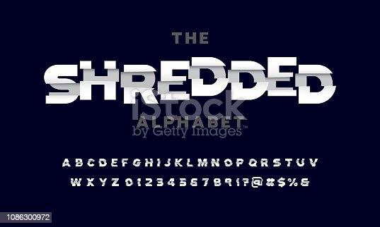 vector of paper shredded effect display font design