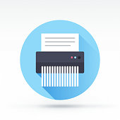 Flat style with long shadows, shredder vector icon