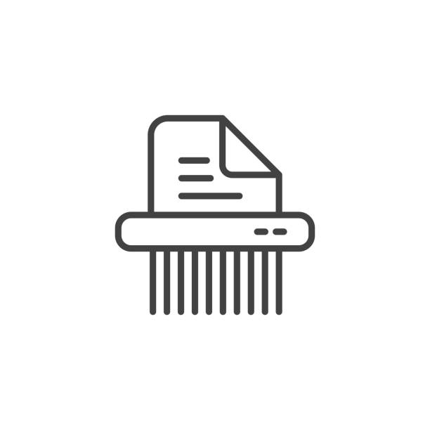 Shredder linear symbol icon Shredder symbol icon. Linear design symbol with thin line and monochrome outline minimal style. Editable stroke. demolished stock illustrations