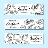 Shrimp banner, seafood restaurant menu poster set