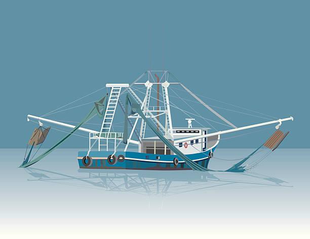 ilustrações de stock, clip art, desenhos animados e ícones de barco de pesca de camarões - fishing boat