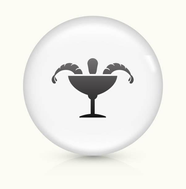 krabbencocktail symbol auf einem weißen, runden vektor-button - cocktailsauce stock-grafiken, -clipart, -cartoons und -symbole