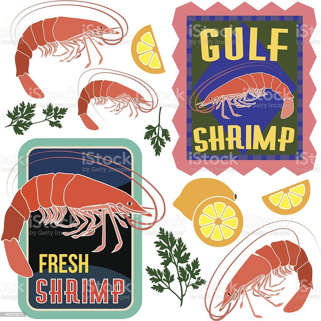 shrimp design elements royalty-free stock vector art