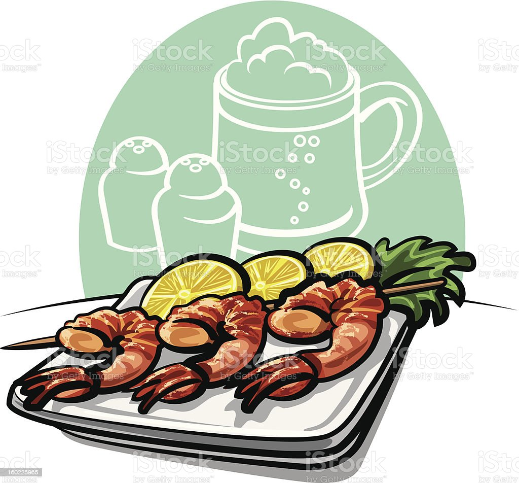 Shrimp grilled royalty-free stock vector art