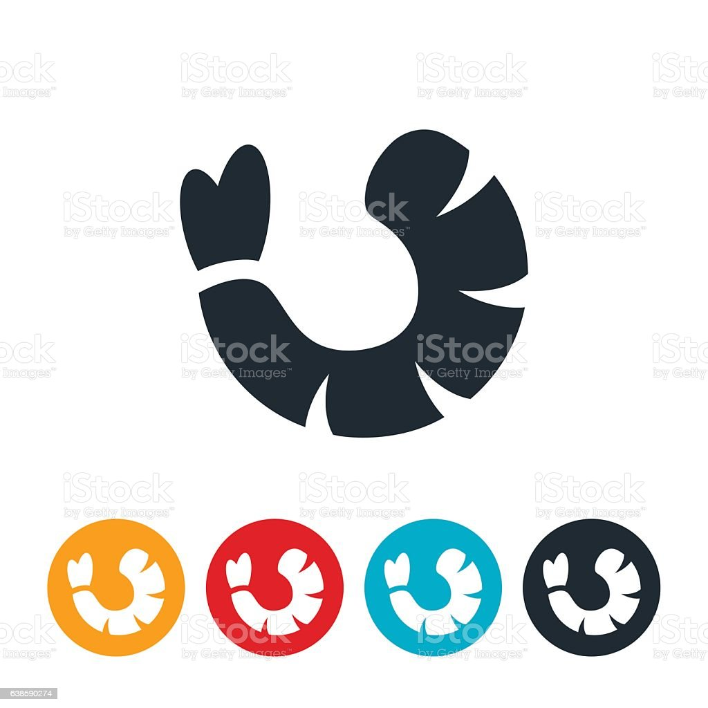 Shrimp Icon vector art illustration