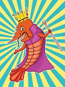 Illustration of a funny shrimp as a king wearing robe with crown and scepter