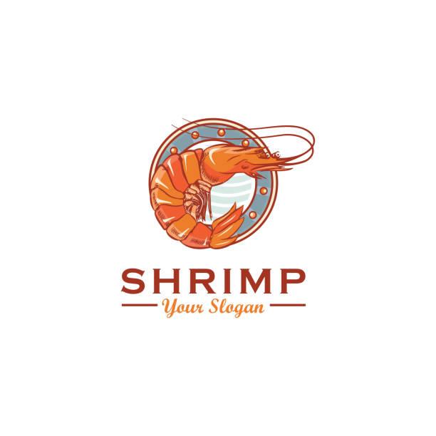 bildbanksillustrationer, clip art samt tecknat material och ikoner med räkor logotypdesign, vector mall - räka fisk och skaldjur