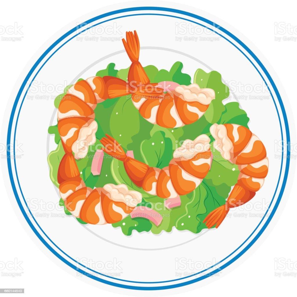 shrimp salad on round plate stock vector art more images of art rh istockphoto com Potato Salad Clip Art Culture Clip Art Salad
