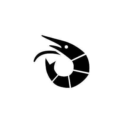 Shrimp Seafood, Langoustine, Tiger Prawn. Flat Vector Icon illustration. Simple black symbol on white background. Shrimp, Langoustine, Tiger Prawn sign design template for web and mobile UI element.