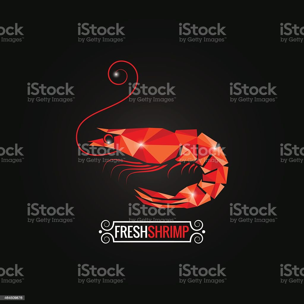 shrimp seafood poly design background vector art illustration