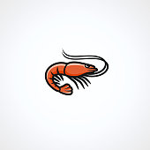 Collection shrimp  set, edit size and color, vector