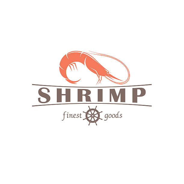 illustrazioni stock, clip art, cartoni animati e icone di tendenza di shrimp vector emblem - banchi di pesci