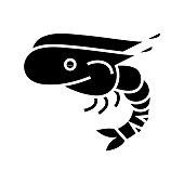 Shrimps black icon, concept illustration, glyph symbol, vector flat sign.