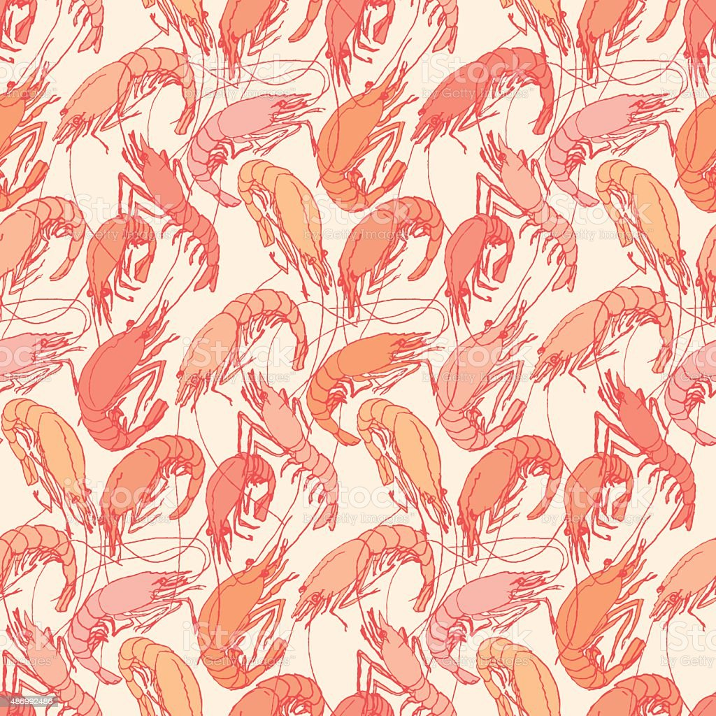 Shrimps. Seamless pattern background. Drawn illustration, sketch, doodle vector art illustration