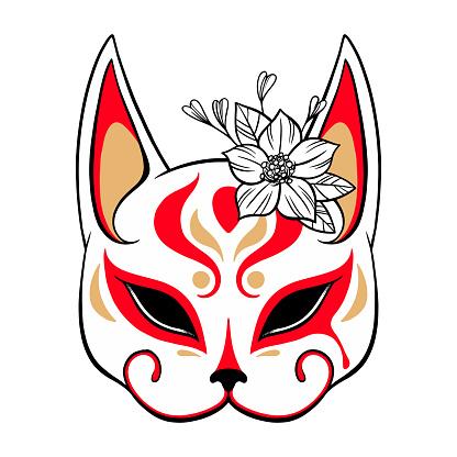 Shrine Fox. Kitsune mask art