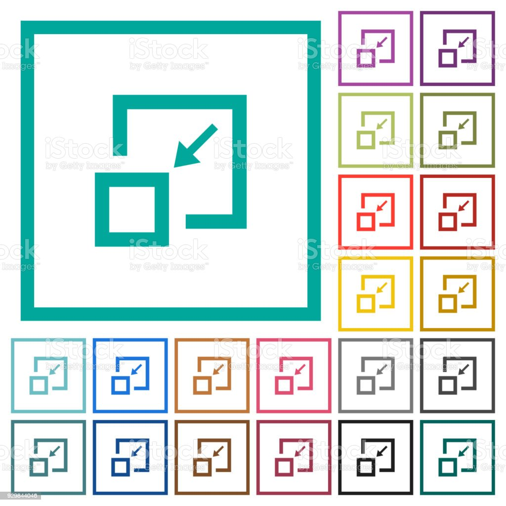 Shrink Window Flat Color Icons With Quadrant Frames Stock Vector Art ...