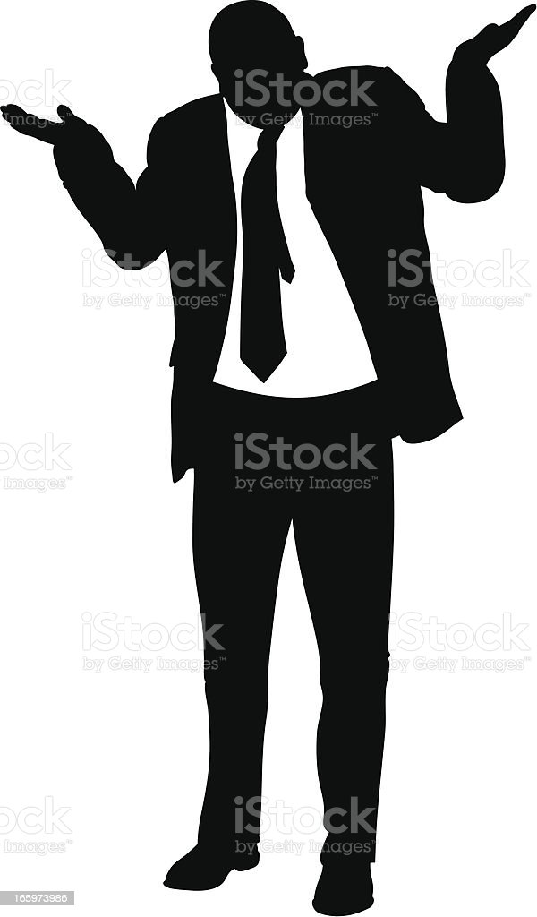 Shrugging Businessman A silhouette of a businessman shrugging. Adult stock vector