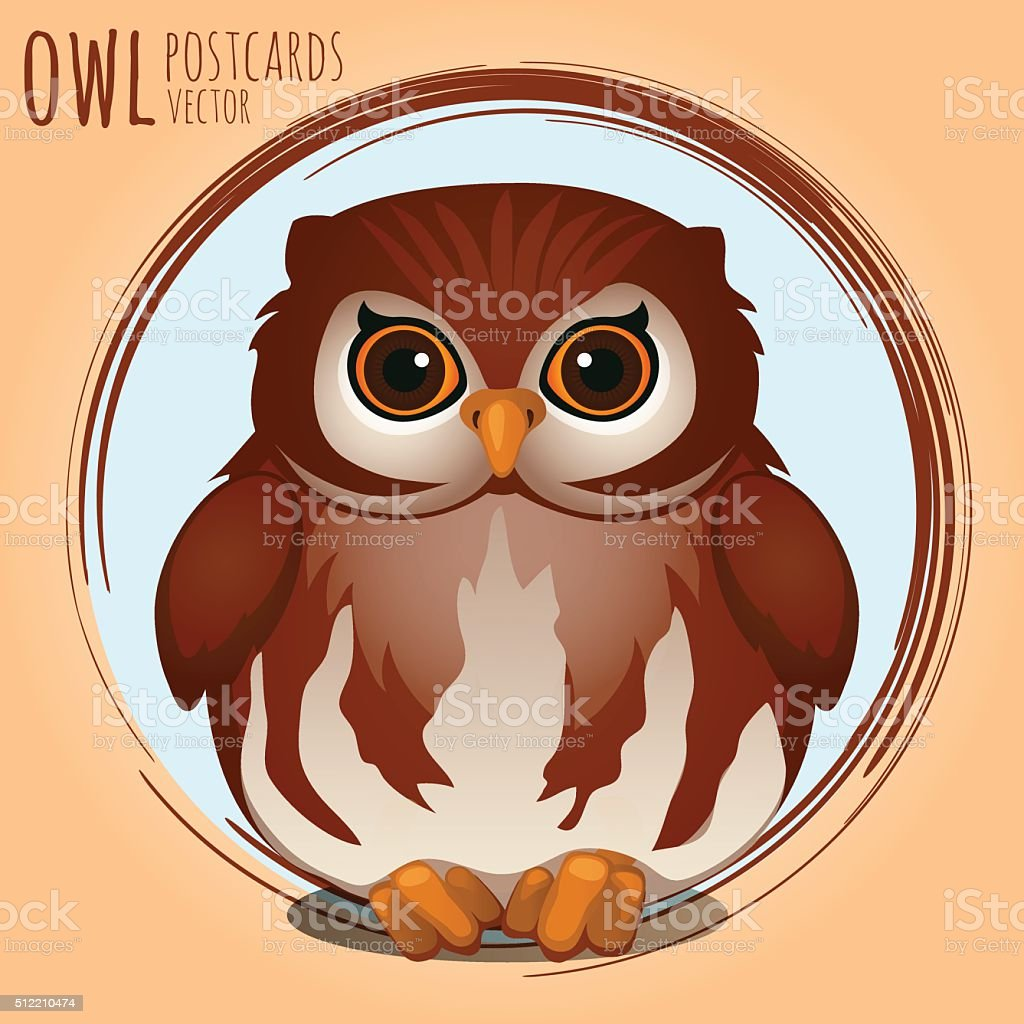 Shubby brown owl, cartoon series vector art illustration
