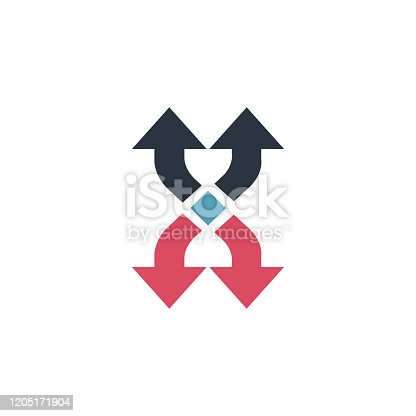 Shuffle curved arrows logo or icon. can be used for mobile apps and web design. Four directional arrows glyph icon. Stock Vector illustration isolated