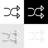istock Shuffle. Icon for design. Blank, white and black backgrounds - Line icon 1295840254