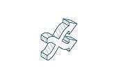 istock shufle, mix, random, intersecting arrow isometric icon. 3d line art technical drawing. Editable stroke vector 1250428119