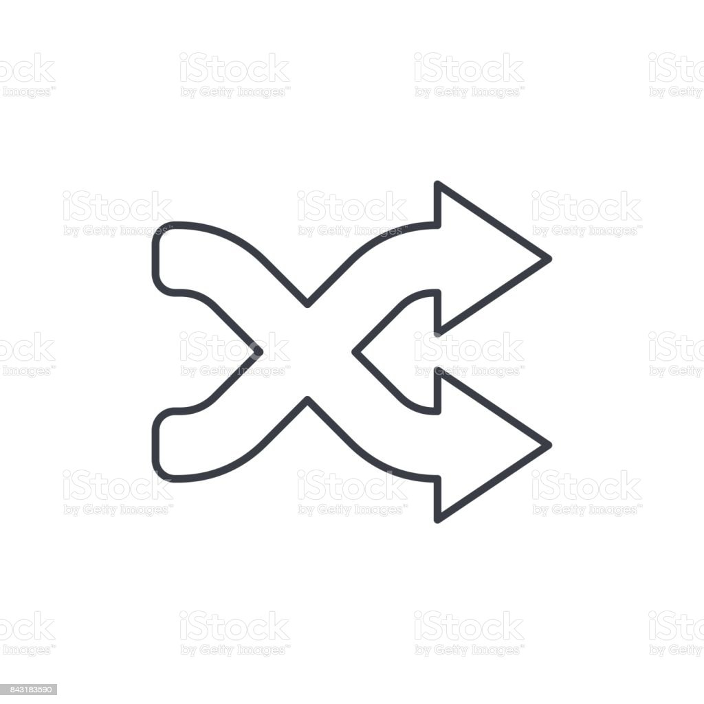 shufle, mix, random, intersecting arrow thin line icon. Linear vector symbol vector art illustration