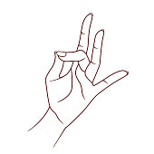 Shuni mudra. Yogic hand gesture. Vector. Isolated on white background